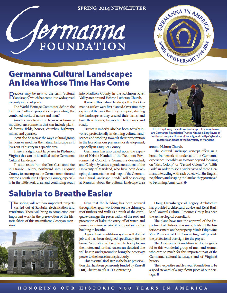 Spring 2014 Germanna Foundation Newsletter