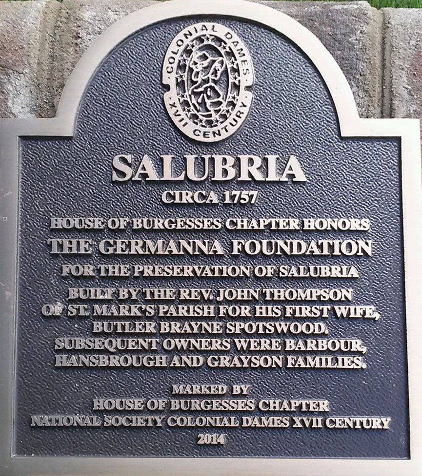 Colonial Dames to dedicate historic marker at Salubria on Saturday, Sept 27