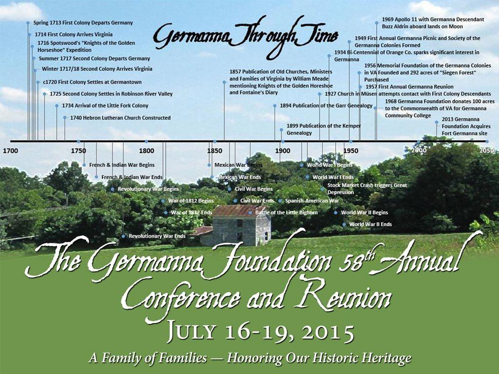 Germanna Reunion Registration and Website Facelift