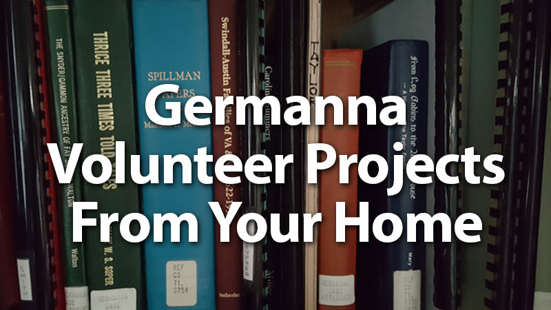 Germanna Volunteer Projects From Your Home